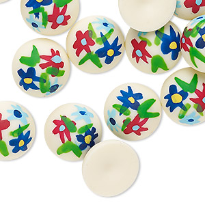 Cabochon, Painted Acrylic, Opaque Ivory Multicolored, 14mm Non-calibrated Round Flower Design. Sold Per Pkg 24