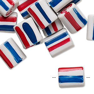 Bead, Painted Vintage Japanese Glass, Opaque White / Red / Blue, 13x10mm-13x11mm Flat Rectangle Stripes. Sold Per Pkg 24