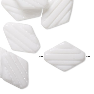 Bead, Vintage German Pressed Glass, Opaque White, 21x15mm Textured Flat Diamond. Sold Per Pkg 10