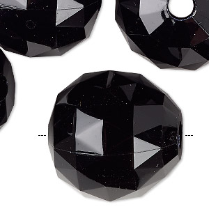 Bead, Acrylic, Black, 24mm Faceted Round. Sold Per Pkg 6