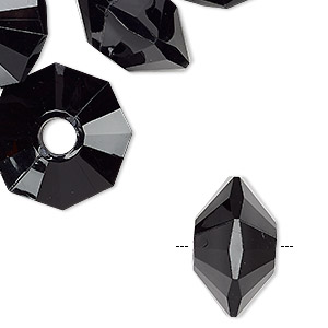Bead, Acrylic, Black, 30x18mm Faceted Saucer. Sold Per Pkg 6