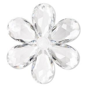 Focal, Acrylic, Clear, 68x63mm Faceted Flower. Sold Individually
