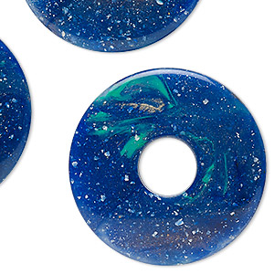 Focal, Acrylic, Blue / Green / White, 52.5mm Round Donut. Sold Per Pkg 3
