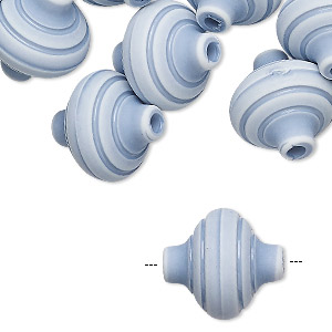 Bead, Acrylic, Light Blue White, 17x16mm Saucer Stripes. Sold Per Pkg 24