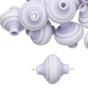 Bead, Acrylic, Light Purple White, 17x16mm Saucer Stripes. Sold Per Pkg 24