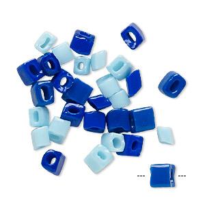 Bead Mix, Vintage German Glass, Cobalt Light Blue, 3x2.5mm-5x3.5mm Uneven Rondelle. Sold Per Pkg 30