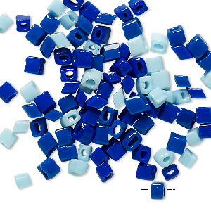 Bead Mix, Vintage German Glass, Light Blue Dark Blue, 4x4mm Square Tube. Sold Per Pkg 100