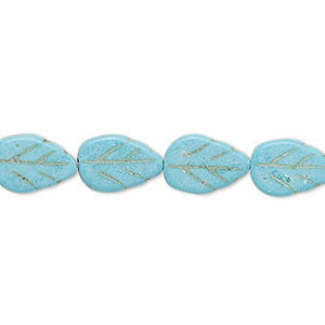 "Bead, ""turquoise"" (imitation) Resin, Light Blue, 13x9mm Carved Flat Leaf. Sold Per 15-inch Strand"