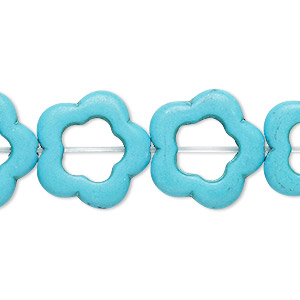 Bead, Howlite (imitation), Turquoise Blue, 19x18mm-20x19mm Open Flower, 10x8mm Center Hole. Sold Per 15-inch Strand