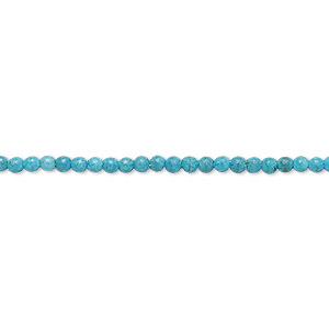 "Bead, ""turquoise"" (imitation) Resin, Teal Blue, 2-3mm Round. Sold Per 15-inch Strand"