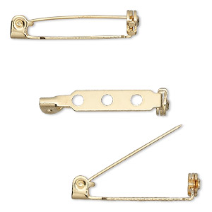 pin back, gold-plated steel, 1-inch with locking bar. sold per pkg of 100.