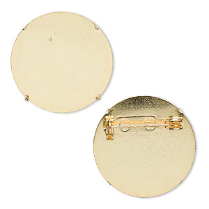 pin back, gold-plated steel, 26mm round. sold per pkg of 10.