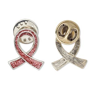 pin, imitation rhodium-plated pewter (zinc-based alloy) / enamel / epoxy, transparent pink with glitter, 20x17mm single-sided awareness ribbon. sold individually.