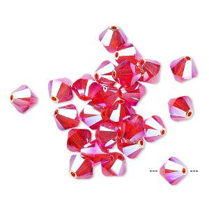 Bead, Swarovski® Crystals, Hyacinth AB2X, 6mm Xilion Bicone (5328). Sold Per Pkg 24 5328