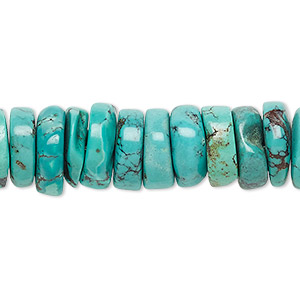 Bead, Turquoise (dyed / Stabilized), Blue, 11x2mm-12x5mm Heishi, B Grade, Mohs Hardness 5 6. Sold Per 16-inch Strand