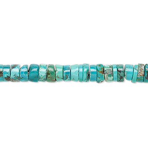Bead, Turquoise (dyed / Stabilized), Blue, 5x2mm-6x3mm Heishi, B Grade, Mohs Hardness 5 6. Sold Per 16-inch Strand