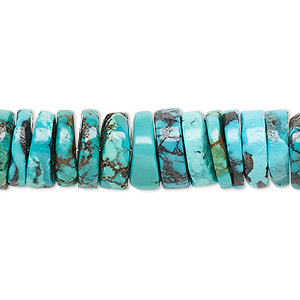 Bead, Turquoise (dyed / Stabilized), Blue, 11x2mm-12x4mm Heishi, B Grade, Mohs Hardness 5 6. Sold Per 16-inch Strand