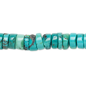 Bead, Turquoise (dyed / Stabilized), Blue, 7x2mm-8x4mm Heishi, B Grade, Mohs Hardness 5 6. Sold Per 15-inch Strand