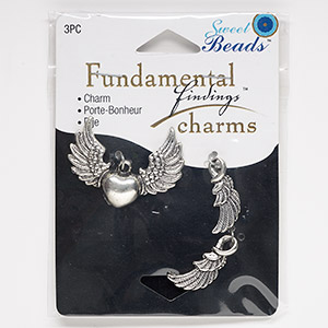 "Focal Charm, Antiqued Silver-finished ""pewter"" (zinc-based Alloy), 23x8mm Double-sided Wing 37x27mm Single-sided Heart Wings. Sold Per 3-piece Set 1048"