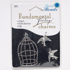 "Focal Charm, Antique Silver-finished ""pewter"" (zinc-based Alloy), 17x15mm Double-sided Bird 43x30mm Single-sided Birdcage. Sold Per 3-piece Set 1050"