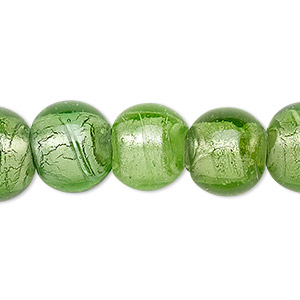 Bead, Lampworked Glass, Transparent Spring Green Silver-colored Foil, 12-14mm Round 2-6mm Hole. Sold Per 15-inch Strand