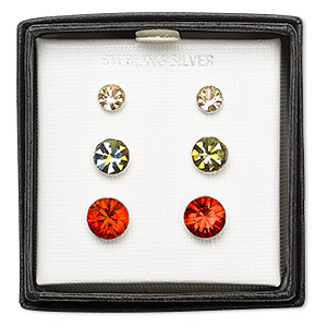 Earstud Earrings Sterling Silver Mixed Colors