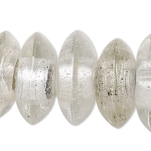 Bead, Lampworked Glass, Transparent Clear Silver-colored Foil, 24x10mm-27x12mm Saucer 2-6mm Hole. Sold Per 15-inch Strand