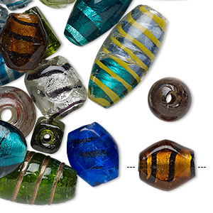 Bead Mix, Lampworked Glass, Opaque Transparent Mixed Colors Silver-colored Foil Copper-colored Glitter, 11x8mm-37x34mm Mixed Shape Stripes, 1.5-9mm Hole. Sold Per 1-pound Pkg, Approximately 40-60 Beads