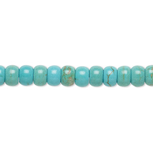 Bead, Magnesite (dyed / Stabilized), Blue-green Light Teal Green, 6x4mm Rondelle, C Grade, Mohs Hardness 3-1/2 4. Sold Per 15-inch Strand