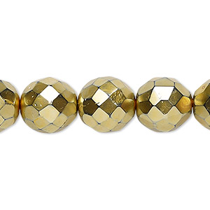 Bead Czech Fire-polished Glass, Opaque Gold, 12mm Faceted Round. Sold Per 16-inch Strand