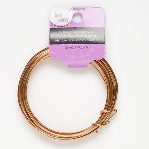 Wire, Anodized Aluminum, Copper, Round, 16 Gauge. Sold Per Pkg 5 Yards 178091
