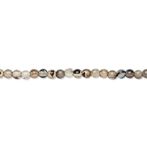 Bead, Black Agate (dyed), Light, 3mm Round, B Grade, Mohs Hardness 6-1/2 7. Sold Per 16-inch Strand J3400CL