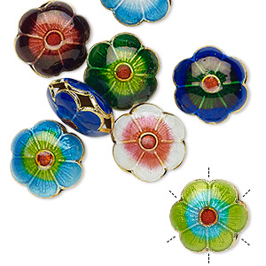 Bead Mix, Cloisonné, Enamel Gold-finished Copper, Multicolored, 12mm Flower. Sold Per Pkg 8