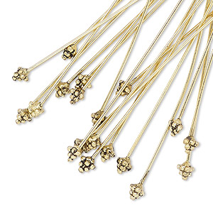 "Headpin, Antique Gold-plated ""pewter"" (zinc-based Alloy), 2 Inches 4mm Triangle, 21 Gauge. Sold Per Pkg 20"