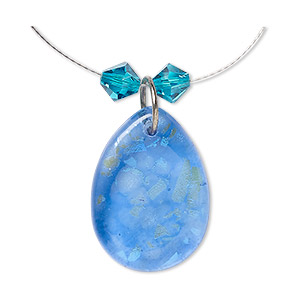 Bead Drop, Dichroic Glass / Swarovski® Crystals / Aluminum, Blue / Green / Blue Zircon, 6mm Faceted Bicone 25x18mm-27x20mm Teardrop. Sold Per 3-piece Set