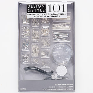 "Jewelry-making Starter Kit, Design & Style, Plastic / Steel / Stainless Steel / Silver-finished ""pewter"" (zinc-based Alloy), Clear Black. Sold Per 287-piece Set MDS31621"