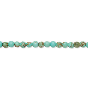 Bead, Magnesite (dyed / Stabilized), Blue-green, 3mm Round, D Grade, Mohs Hardness 3-1/2 4. Sold Per 15-inch Strand