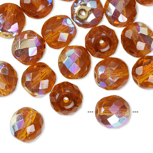 Bead, Czech Fire-polished Glass, Transparent Topaz AB, 10mm Faceted Round. Sold Per Pkg 40