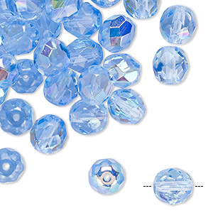 Bead, Czech Fire-polished Glass, Transparent Light Sapphire AB, 8mm Faceted Round. Sold Per Pkg 50