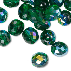 Bead, Czech Fire-polished Glass, Transparent Green AB, 10mm Faceted Round. Sold Per Pkg 40