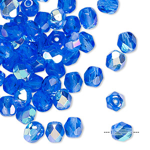Bead, Czech Fire-polished Glass, Transparent Sapphire AB, 6mm Faceted Round. Sold Per Pkg 65