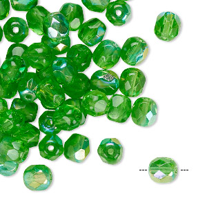 Bead, Czech Fire-polished Glass, Transparent Green AB, 6mm Faceted Round. Sold Per Pkg 65