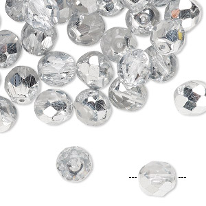 Bead, Czech Fire-polished Glass, Opaque Transparent Crystal Half-coated Silver, 8mm Faceted Round. Sold Per Pkg 50