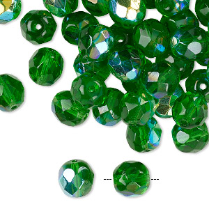 Bead, Czech Fire-polished Glass, Transparent Green AB, 8mm Faceted Round. Sold Per Pkg 50