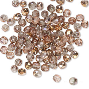 Bead, Czech Fire-polished Glass, Transparent Clear Capri Gold, 4mm Faceted Round. Sold Per Pkg 100