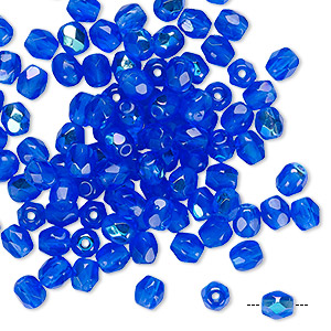 Bead, Czech Fire-polished Glass, Transparent Sapphire AB, 4mm Faceted Round. Sold Per Pkg 100