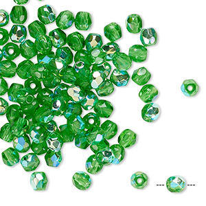 Bead, Czech Fire-polished Glass, Transparent Green AB, 4mm Faceted Round. Sold Per Pkg 100