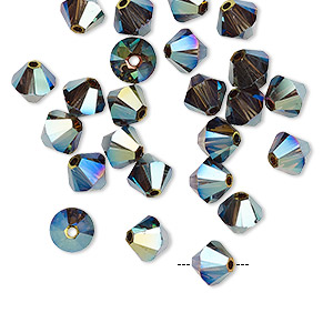 Bead, Swarovski® Crystals, Crystal Iridescent Green 2X, 6mm Xilion Bicone (5328). Sold Per Pkg 24 5328