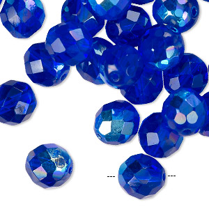 Bead, Czech Fire-polished Glass, Transparent Sapphire AB, 10mm Faceted Round. Sold Per Pkg 40