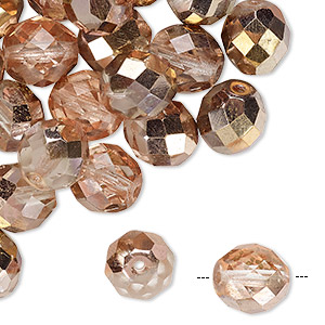 Bead, Czech Fire-polished Glass, Opaque Transparent Clear Capri Gold, 10mm Faceted Round. Sold Per Pkg 40